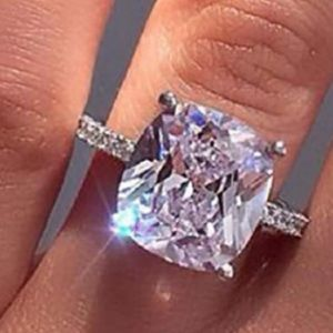 NEW 18K WHITE GOLD 5 CT CUSHION CUT DIAMOND RING